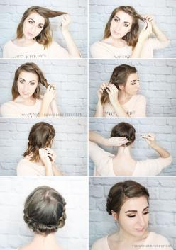 Quick Rolled Braid Updo For Shorter Hair | Wonder Forest: Design Your Life.: Braided Updo, Hairstyles, Shorter Hair, Quick Rolled, Hair Styles, Quick Short Hair Updo, Rolled Braid, Short Hair Tutorial