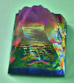 rainbow crystal, this so looks like a picture of green meadows , blue skies, with clouds , purple moutains.....: Crystal, Crystals Fossils, Minerals Crystals Earth Beauty, Rocks Minerals, Beautiful, Rainbows, Minerals Rocks, Crystals Gemstones Minerals