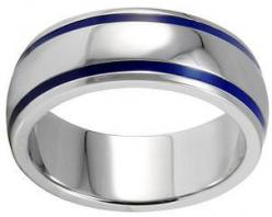Really like this one! blue sapphire men's wedding band | Men's blue and silver titanium wedding band ring: Domed Ring, Coast Jewelry, Enamel Groove, Wedding Bands, Wedding Rings, Stainless Steel