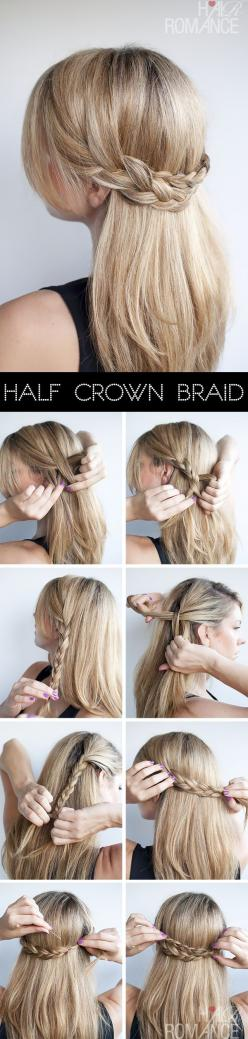 Really pretty: Hair Ideas, Hairstyles, Crowns, Hair Styles, Hairdos, Makeup, Half Crown Braids