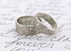 recycled silver wedding band set . engraved once upon a time ring . recycled silver swirl wedding ring set by peacesofindigo via Etsy: Wedding Band Sets, Silver Wedding Rings, Engagement Ring, Silver Wedding Bands, Silver Weddings, Recycled Silver