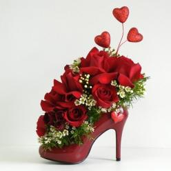 Red Flowers Arrangement in Shoe for Girl, bit.ly/1fbzmhk, #flower, #arrangement, #decoration: Rose, Idea, Red, Valentines, Flower Arrangements, Floral Arrangements, Flowers, Valentine S