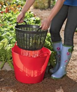 Rinse vegetables right out in the garden and then use the water on the plants. Could possibly make something like this with a tub & basket from the dollar store?: Green Thumb, Idea, Dollar Tree, Dollar Store, Gardening Outdoor, Rinse Veggies, Vegetabl