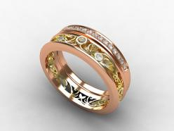 Rosé Gold and Yellow gold filigree diamond ring with Rose gold wedding band by TorkkeliJewellery, $2390.00: Diamond Wedding Bands, Gold Wedding Bands, Diamond Rings, Yellow Gold, Rose Gold Weddings, Filigree Ring, Engagement Rings