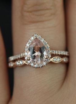 Rose Gold Morganite Ring. This with white gold would be even more amazing!: Morganite Engagement Ring, Unique Engagement Ring, Morganite Ring, Rose Gold Engagement Ring, Rose Gold Wedding Ring, Engagement Ring Set, Rose Gold Engagment Ring, Pear Shaped En
