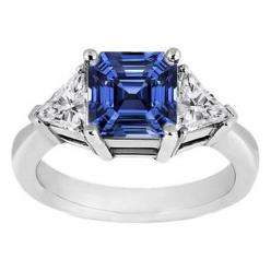 Royal Blue Sapphire Asscher Cut, flanked by trillion diamonds engagement ring: Diamond Engagement Rings, Trillion Diamond, Hurley Engagement, 14K White, Blue Sapphire, Asscher Blue, Jewelry, White Gold