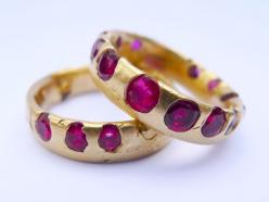 Ruby band in 18kt from Polly Wales. The stones are cast directly into the gold, then metal is polished away to reveal the gems encased.: Gemstone, Jewellery, Polly Wales, Crystal Ring, Jewelry, Rings, Engagement Ring, Ruby Band
