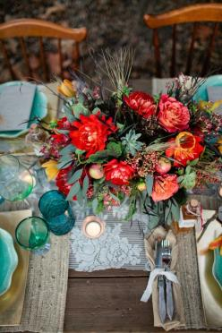Rustic color pop centerpiece perfection: Centerpiece, Table Settings, Boho Chic, Wedding Ideas, Weddings, Flower, Bohemian, Rustic Wedding
