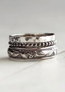 Rustic sterling silver stack rings: Silver Stacking, Rings Jewelry, Ring Assortment, Sterling Silver, Stacking Rings, Rustic Sterling, Jewelry Rings, Silver Rings