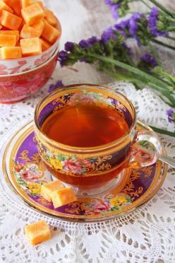 SAFFRON INFUSED SUGAR CUBES - I don't like saffron, and purple, and lavender, and tea without milk, but the colors are amazing.: Tea Party, Tea Time, Infused Sugar, Sugar Cubes, Teas, Tea Cups, Teacup, Teatime