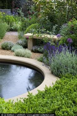 Sandstone edged pool surrounded by a bench, Thyme and Roses: Rose, Water Gardens, Garden Design, Gardens Jardines, Garden Ponds, Landscapes, Gardens Gardening