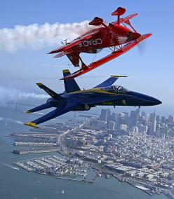 Sean Tuck bi-plane (team Oracle) and F18 Blue Angel formation: Sf Blueangels, Blueangels Oracle, Airplanes, Blue Angeles, Aircraft, Blue Angels