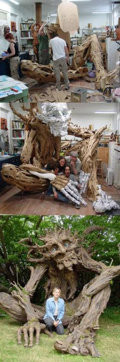 Seattle sculptress Kim Graham and her team made this amazing troll sculpture out of reclaimed lumber, discarded cardboard, and papier mache.: Troll Sculpture, Haunted House, Art Sculptures, Art Installation, Paper Art Sculpture, Paper Sculpture Art, Paper