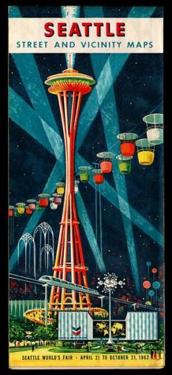 Seattle Street Map / Space Needle / Vintage / Retro / Atomic Age Illustration / Space Age Architecture / Sea-Town: Vintage Posters, 1962 Seattle, Space Needle, Vintage Travel, Travel Posters, Seattle World S