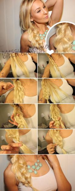 See more hairstyle tutorials on http://pinmakeuptips.com/the-hottest-female-hair-trends-for-2015-year/: Hairstyles, Braid Tutorials, Hair Styles, Messy Summer, Hair Tutorial, Hair Makeup, Messy Braids, Summer Braids