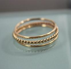 Set of 3 14k SOLID Yellow Gold Stack 1 Very Skinny Rope Twist Infinity Ring  2 Thin Round Simple Stacking Band Ring  Shiny Finish: Gold Filled, Gold Bands, Gold Stack, Colossal Closet, 14K Gold, Rings Twist, Band Rings, Daughter