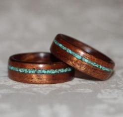 Set of Custom Wooden Rings with Crushed Stone Inlay (Bent Wood Method) etsy 240. rad!: Wedding Ring, Custom Wooden, Inlay Bent, Bent Wood, Wooden Rings, Stones