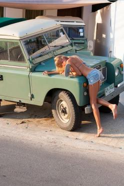She's leaving the country and can't take the Land Rover with her. That's why she's sad. Nothing else.: Land Rovers, Girls, 4X4, Blonde, Land Rover Series