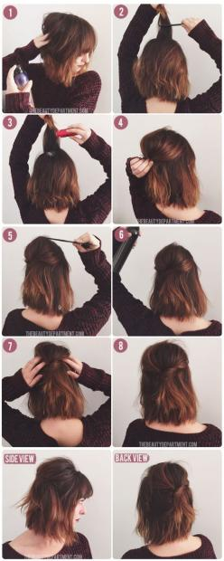 Short Hair Half Up via thebeautydepartment: Hairstyles, Half Up, Hairdos, Hair Styles, Diy Short, Hair Tutorial, Short Hair Style, Bob Hair Style, Short Hair Do