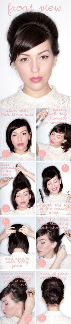 Short Pin Up 'Do / 22 No-Heat Styles That Will Save Your Hair (via BuzzFeed): Hair Ideas, Up Dos, Hair Tutorials, Hairstyles, Hair Styles, Makeup, Short Hair Updo, Shorts, Shorthair