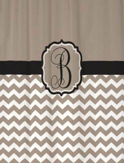 Shower Curtain Taupe Half Chevron with Black Accents 69x70 Monogrammed Personalized Custom for your Bathroom via Etsy: Taupe Half, Curtain Taupe, Choose Colors, Bathroom Ideas, Colors 70, Curtain Chevron, Long Shower Curtains, Accent Color