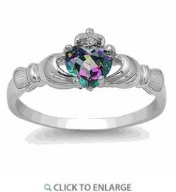 Silver Rainbow Topaz CZ Claddagh Ring.  Amazing price!: Claddagh Rings, Mystic Topaz, Wedding, Rainbows, Sterling Silver, Jewelry, Topaz Cz