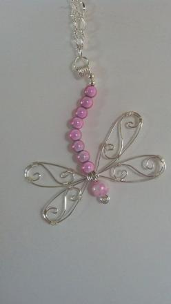 Silver+wire+and+pink+beaded+dragonfly+pendant+necklace+by+Natjerm,+$15.00: Pendant Necklace, Wire Jewelry, Beaded Dragonfly, Craft, Cute Earrings, Silver Wire, Wire Wrapping