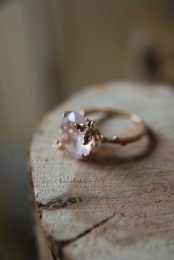 Simple, beautiful, rustic: Vintage Ring, Wedding Ring, Style, Quartz Ring, Jewelry, Rose Gold, Engagement Rings