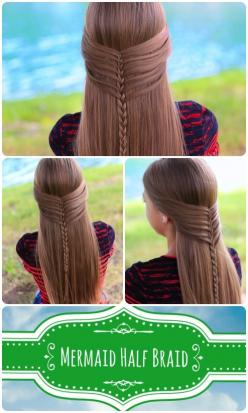 Soft and elegant girl's hairstyle -Mermaid Half Braid with video tutorial.   #diy,  #hairstyle: Mermaid Half, Mermaid Braid, Half Braid, Hair Styles, Long Hair, Cute Girls Hairstyles, Hairstyles Braids, Girl Hairstyles