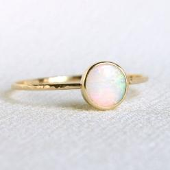 Solid 14k Gold Natural Fiery AAA Opal Orbital Ring - Simple Beautiful 14K Gold Stack Ring - Engagement Ring: Opal Rings, Untraditional Ring, Opal Orbital, 14K Gold, Natural Fiery, Engagement Rings