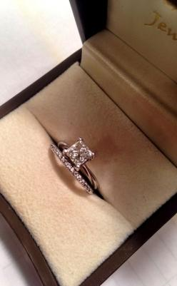 Solitaire engagement ring-princess cut, diamond wedding band....it's what I want!: Simple Wedding Ring Set, Square Wedding Ring, Simple Engagement Ring, Diamond Wedding Band, Princess Cut Wedding Ring, Solitaire Engagement Ring, Princess Cut Engagemen