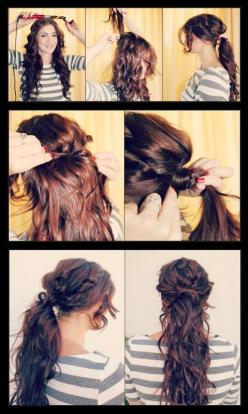 Something easy I'm going to do on my sister @Terri Osborne McElwee Tabitha Parker. I'm going to try to do it.: Ponytail Tutorial, Boho Chic, Messy Ponytail, Hair Styles, Ponytail Hairstyles Tutorial, Hairstyle Tutorials, Boho Ponytail, Cute Ponyta