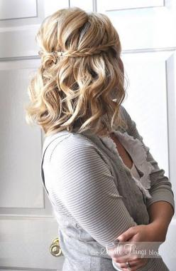 Sooo happy I can curl all my hair now. Curls and braids everyday!: Hair Ideas, Short Hair, Hairstyles, Medium Length, Wedding Hair, Half Up, Hair Styles
