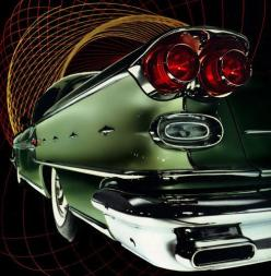 Spitting out chrome flames, the 1958 Pontiac Bonneville is ready to rocket you to the future.: Chrome Flames, Cars, Rocket Motif, Sides Spitting, Stylized Chrome, Auto, Pontiac Bonneville, 1958 Pontiac