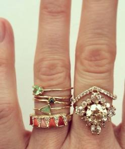 stacked rings: Stack Rings, Stacked Rings, Stack Em, Middle Finger, Jewelry, Stacking Rings, Green Rings, Dainty Ring
