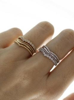 Stacking rings. is it weird that i love this for an engagement ring, wedding band and child band: Stackable Wedding Band, Stacked Engagement Ring, Wishbone Ring, Rings, Stackable Wedding Ring