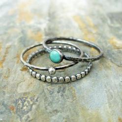 Stacking Rings Set in Antiqued Sterling Silver Featuring Natural Kingman Turquoise - 3 Rustic Stacking Bands with Natural Stone: Silver Featuring, Natural Stones, Sterling Silver, Rustic Stacking, Stacking Rings, Stacking Bands