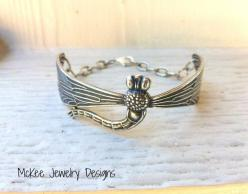 Sterling silver metal engraved dragonfly cuff, with chain and small charm. Vintage inspired dragonfly bracelet. McKee Jewelry Designs: Jewelry Design, Sterling Silver, Vintage Inspired