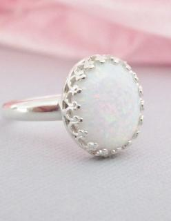 Sterling Silver Opal Ring, White Opal , Simulated Opal Ring, Cabochon, Stone Rings, Opal Jewelry, October Birthstone Jewelry on Etsy, $51.69 CAD: Opal Rings, White Opal, Sterling Silver Ring, Opal Silver Ring, October Birthstone Ring, Birth Stone Ring, Si