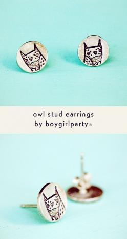 Sterling silver owl earrings featuring the trademark owl of artist Susie Ghahremani / boygirlparty  (Source: http://shop.boygirlparty.com) #owl #earrings #jewelry: Hoody Hoo Owls, Sterling Silver, Owl Accessories, Silver Owl, Owls Hoot Hoot, Earrings Jewe