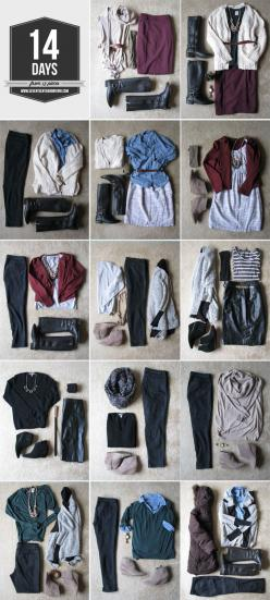 Strategically pack only 13 items to last for a 14 day vacations. I 30 Insanely Easy Ways To Make Your Road Trip Awesome: Travel Light, Capsule Wardrobe, Style, Travel Tips, Travel Outfit, Packing Tips, Carry On