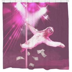 Stripper Sloth Shower Curtain. I'm in love with a stripper...SLOTH! Dance to your favorite tunes alongside this Stripper Sloth shower curtain. Sloths DO move slowly like most of us in the morning. So don't worry, you'll be able to keep up with