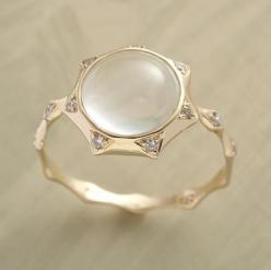 sungazer #ring... i sort of love this. now if only i could find one with the sun from #Tangled...: Style, Moonstone Ring, Sungazer Ring, Diamond, Rings, Accessories, Moonstone Jewelry
