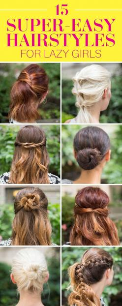 SUPER-EASY HAIRSTYLES: Here are 15 surprisingly simple hairstyle ideas for rushed mornings and busy schedules! Learn how to do braids, buns, and more chic hairstyles in just a few minutes with these step-by-step tutorials and easy hair hacks!: Lazy Girl H