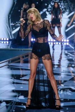 Taylor Swift in a sexy, sheer lace dress. | Victoria's Secret Fashion Show 2014. Performances by Taylor Swift & Ariana Grande | StyleCaster: Taylorswift, Style, Ariana Grande, Ama Taylor, Vs Fashion Shows, Victoria S Secret, 3Taylor 3, Victoria Secret