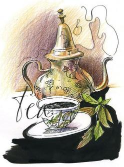 Tea and Teapot illustration, image, drawing, / Tè e Teiera, illustrazione, immagine, disegno: Moroccan Tea, Tea Time, Idea, Illustrations, Tea Pot, Teas, Afternoon Tea, Photo, Teatime
