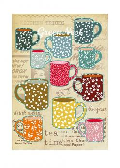 Tea time!: Vintage Tea Cups, Tea Party, Tea Time, Teas, Collage Poster, Teacups, Cups Collage, Poster Prints, Teatime