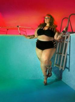 "Tess Holliday said on the set of her shoot for new plus-size swimwear collection Sea by Monif C. ""It's great to buy something that may look cute but I want to buy something that makes me feel sexy and I want to feel confident when I'm going out"": Sexy"
