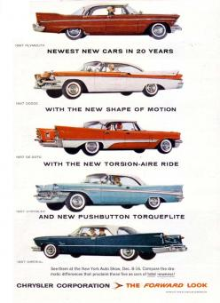 """The 1957 """"Forward Look"""" cars of Chrysler Corporation: Plymouth, Dodge, DeSoto, Chrysler, Imperial. """"Newest New Cars in 20 Years... With the New Shape of Motion... With the New Torsion-Aire Ride... And New Pushbutton Torqueflite... See Them All"""