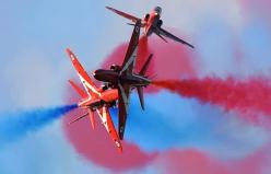 "The British Royal Air Force Aerobatic Team ""Red Arrows"" perform in the skies over the Rivolto army base during an air show: Rivolto Army, Red Arrows, Royal Air, British Royals, Display Team, Team Red"